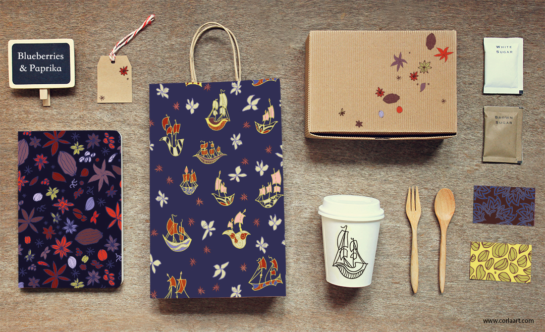 Blueberries and Paprika - Surface Pattern Design Collection - Laurine Cornuejols - Collection