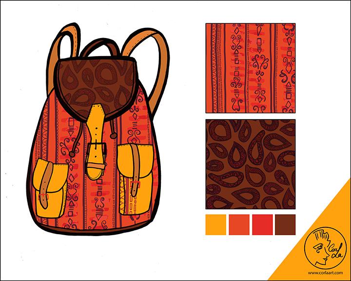 Backpack Pattern Design by CorlaArt - Laurine Cornuejols
