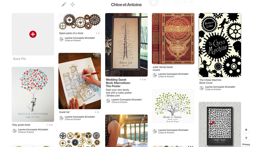 Pinterest inspiration board